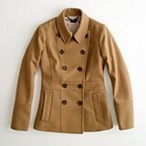 J.CREW Camel Tan Wool Blend Pea Coat Double Breast